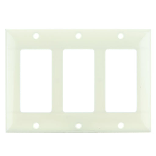 Sunlite E303/A 3 Gang Decorative Switch and Receptacle Plate, Almond