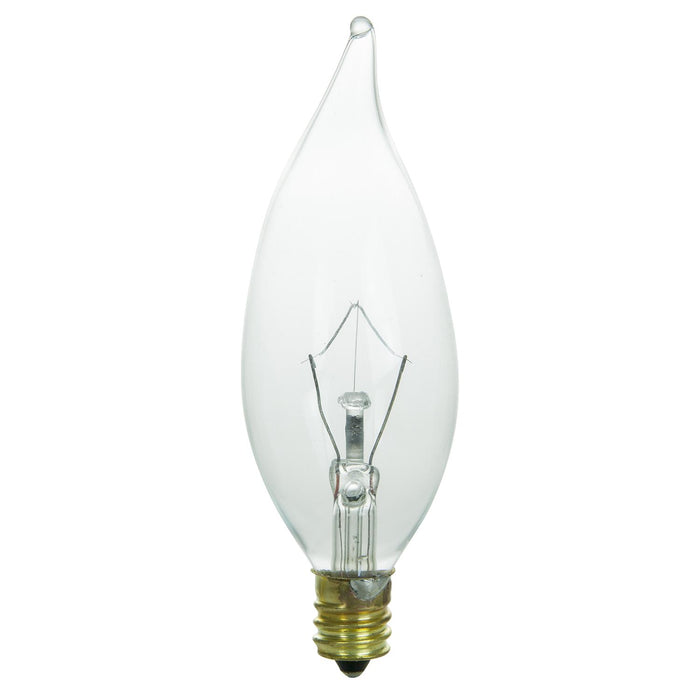 Sunlite 60 Watt Flame Tip Chandelier, Candelabra Base, Clear