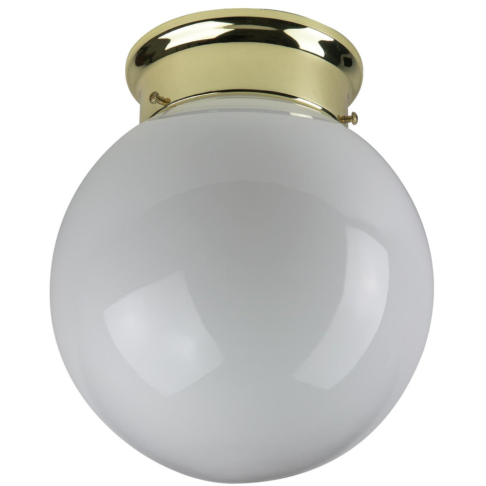 "Sunlite 8"" Decorative Globe Style Ceiling Fixture, Polished Brass Finish, White Glass"