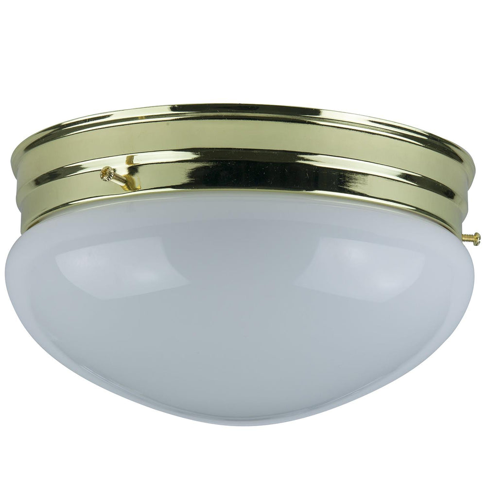 "Sunlite 8"" Decorative Mushroom Style Ceiling Fixture, Polished Brass Finish, White Glass"