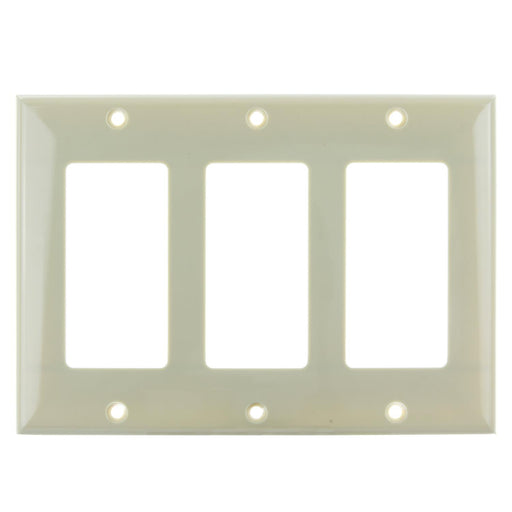 Sunlite E303/I 3 Gang Decorative Switch and Receptacle Plate, Ivory