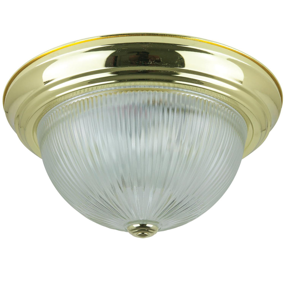 "Sunlite 13"" Decorative Dome Ceiling Fixture, Polished Brass Finish, Clear Glass"