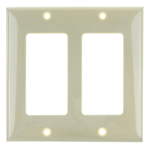 Sunlite E302/I 2 Gang Decorative Switch and Receptacle Plate, Ivory