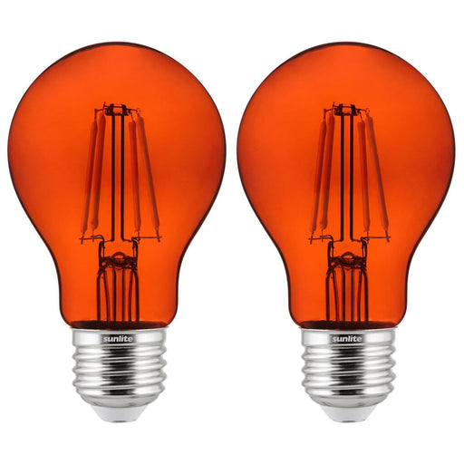 2-Pack Sunlite LED Transparent Orange A19 Filament Bulbs, 4.5 Watts, Dimmable, UL Listed