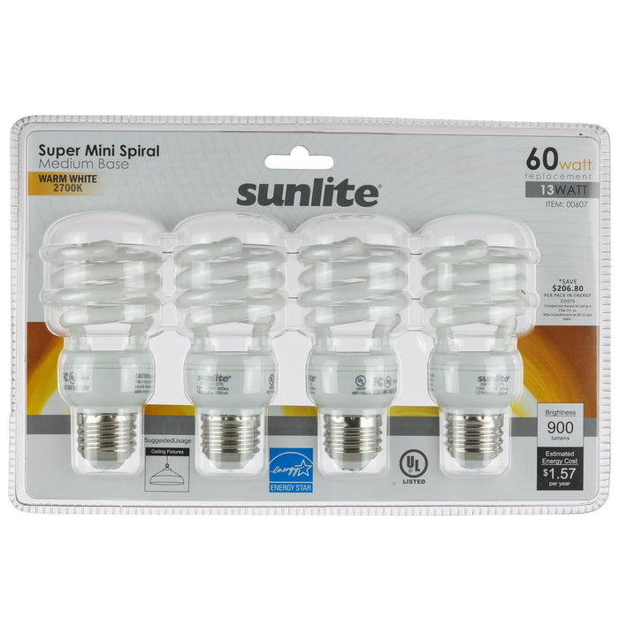 Sunlite 13 Watt Super Mini Spiral, Medium Base, Warm White