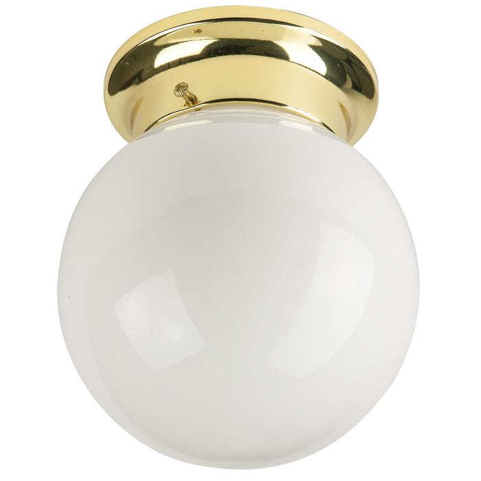"Sunlite 6"" Energy Saving Globe Style Fixture, Polished Brass Finish, White Glass"