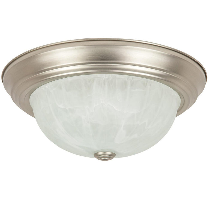 "Sunlite 13"" Energy Saving Dome Fixture, Brushed Nickel Finish, Alabaster Glass"