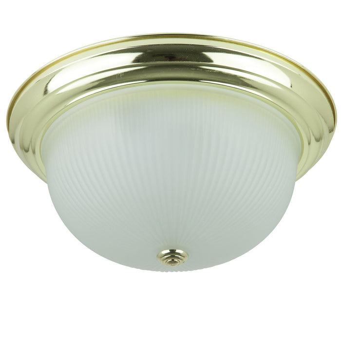 "Sunlite 15"" Decorative Dome Ceiling Fixture, Polished Brass Finish, Frosted Glass"