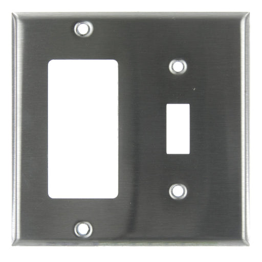 Sunlite E222/S 2 Gang Toggle Switch and Decorative Switch Receptacle Combo Plate, Steel