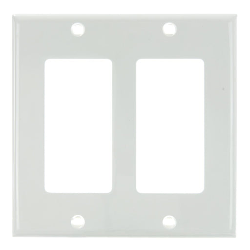 Sunlite E302/W 2 Gang Decorative Switch and Receptacle Plate, White