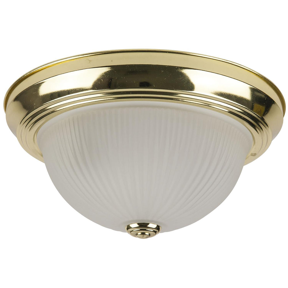 "Sunlite 11"" Decorative Dome Ceiling Fixture, Polished Brass Finish, Frosted Glass"