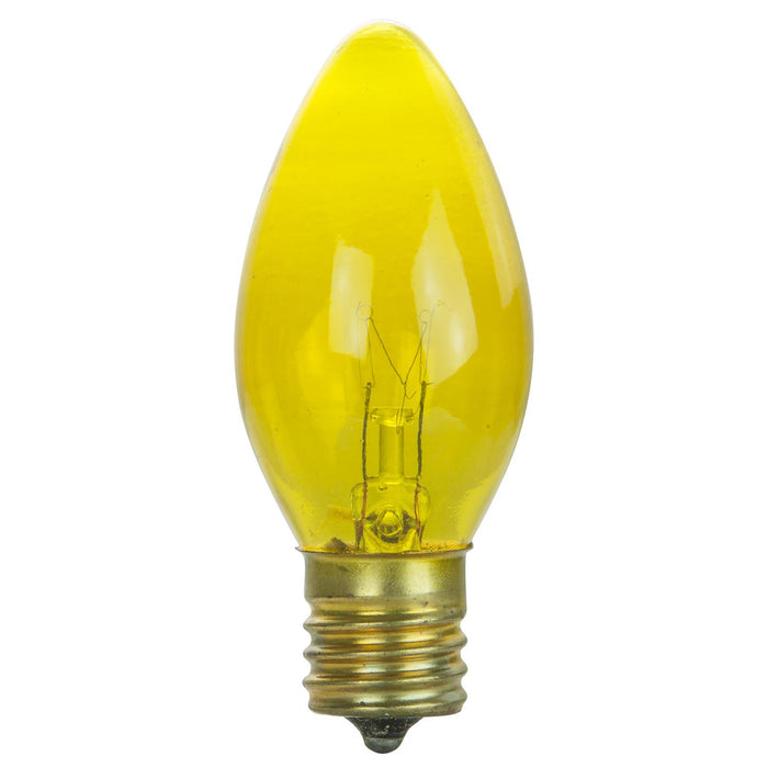 25 Pack Sunlite 7 Watt C9 Colored Night Light, Intermediate Base, Transparent Yellow
