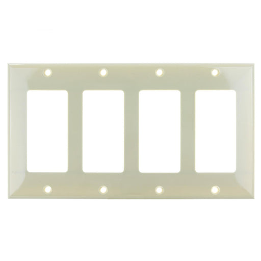 Sunlite E304/I 4 Gang Decorative Switch and Receptacle Plate, Ivory