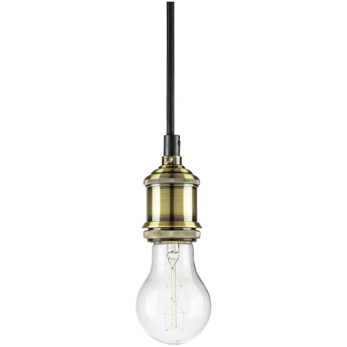 "Sunlite Hanging Pendant Vintage Style Fixture, Antique Bronze Socket Finish, 42"" braided cord"