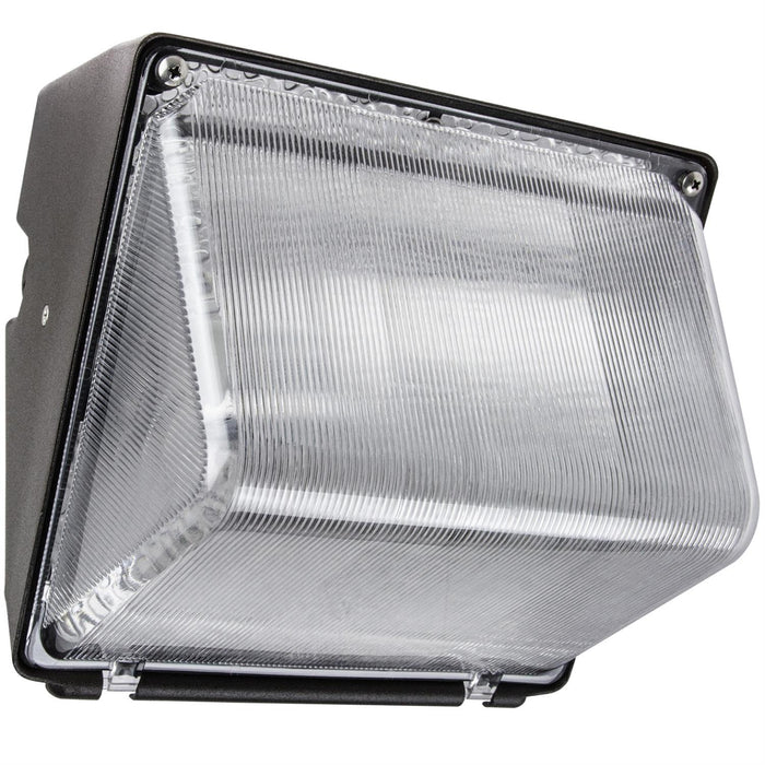 50 Watt High Pressure Sodium Wall Pack, Bronze Powder Finish, Clear High Impact Polycarbonate Lens