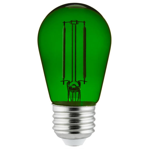 Sunlite LED Transparent Green Colored S14 Medium Base (E26) Bulb - Parties, Decorative, and Holiday 15,000 Hours Average Life