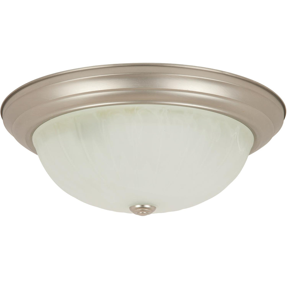 "Sunlite 15"" Decorative Dome Ceiling Fixture, Brushed Nickel Finish, Alabaster Glass"