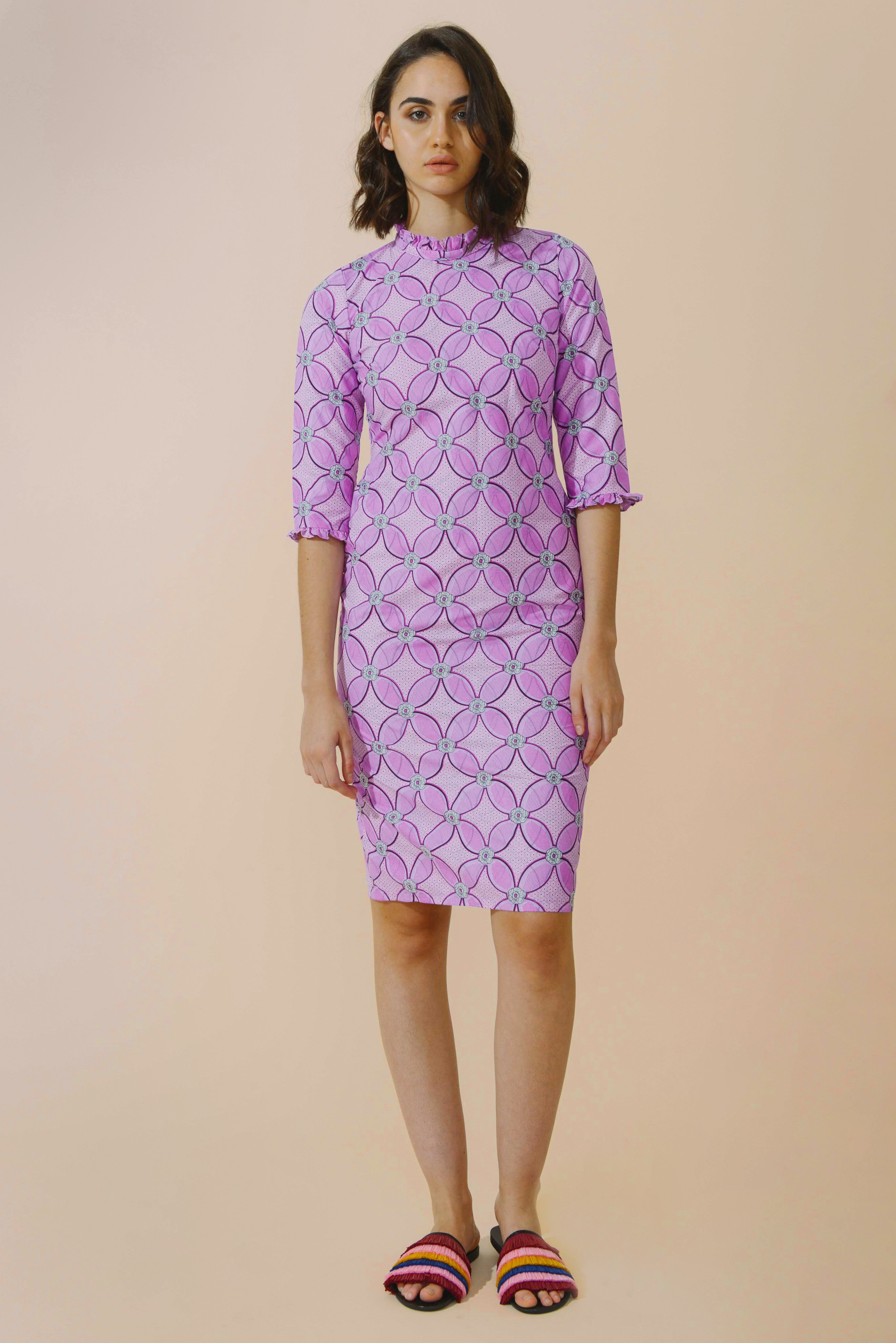 Neema Long Sleeve Frill Dress In Pink Waterlily from Mayamiko