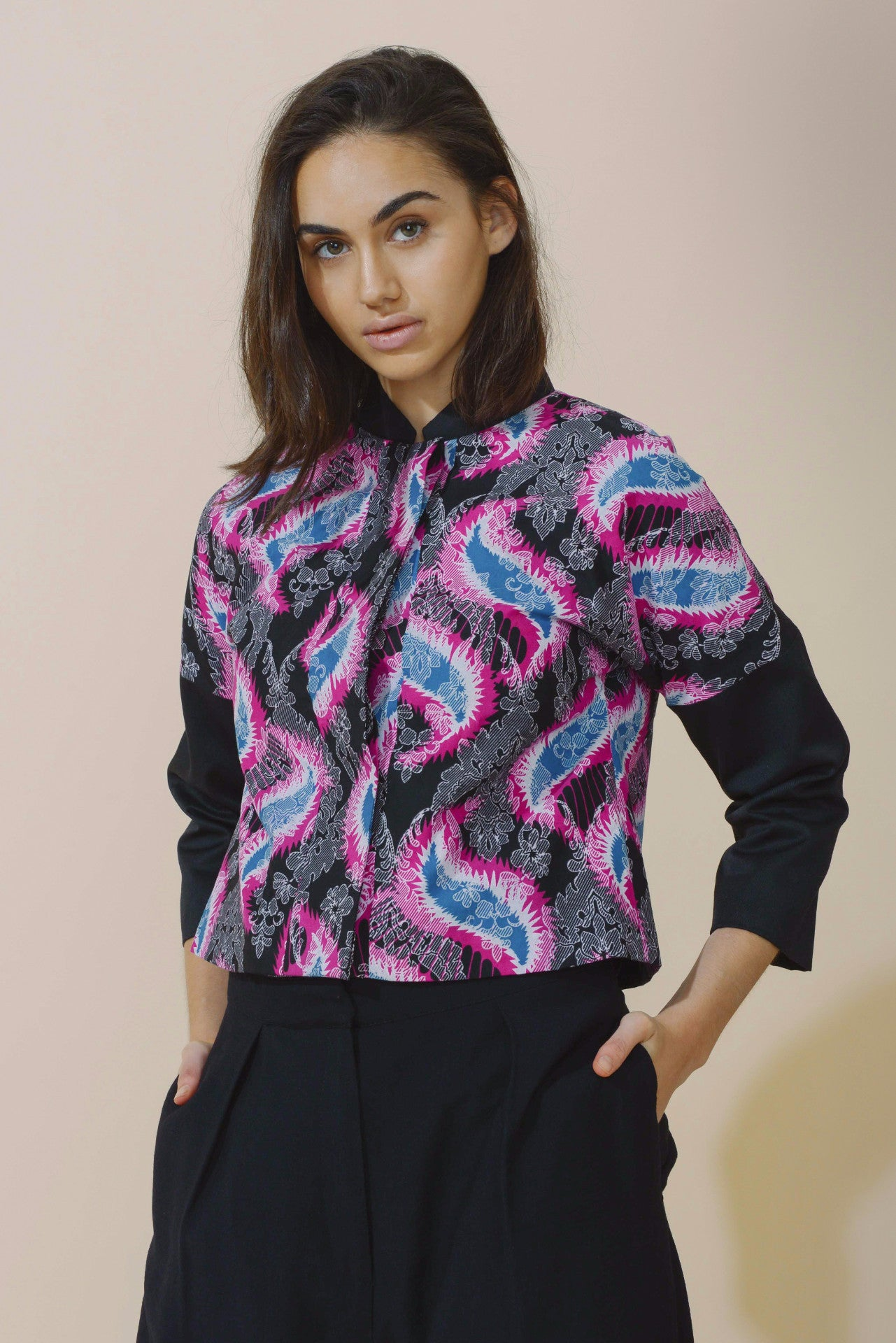 Contrast Sleeve Bomber Jacket in Baroque Paisley Print from Mayamiko