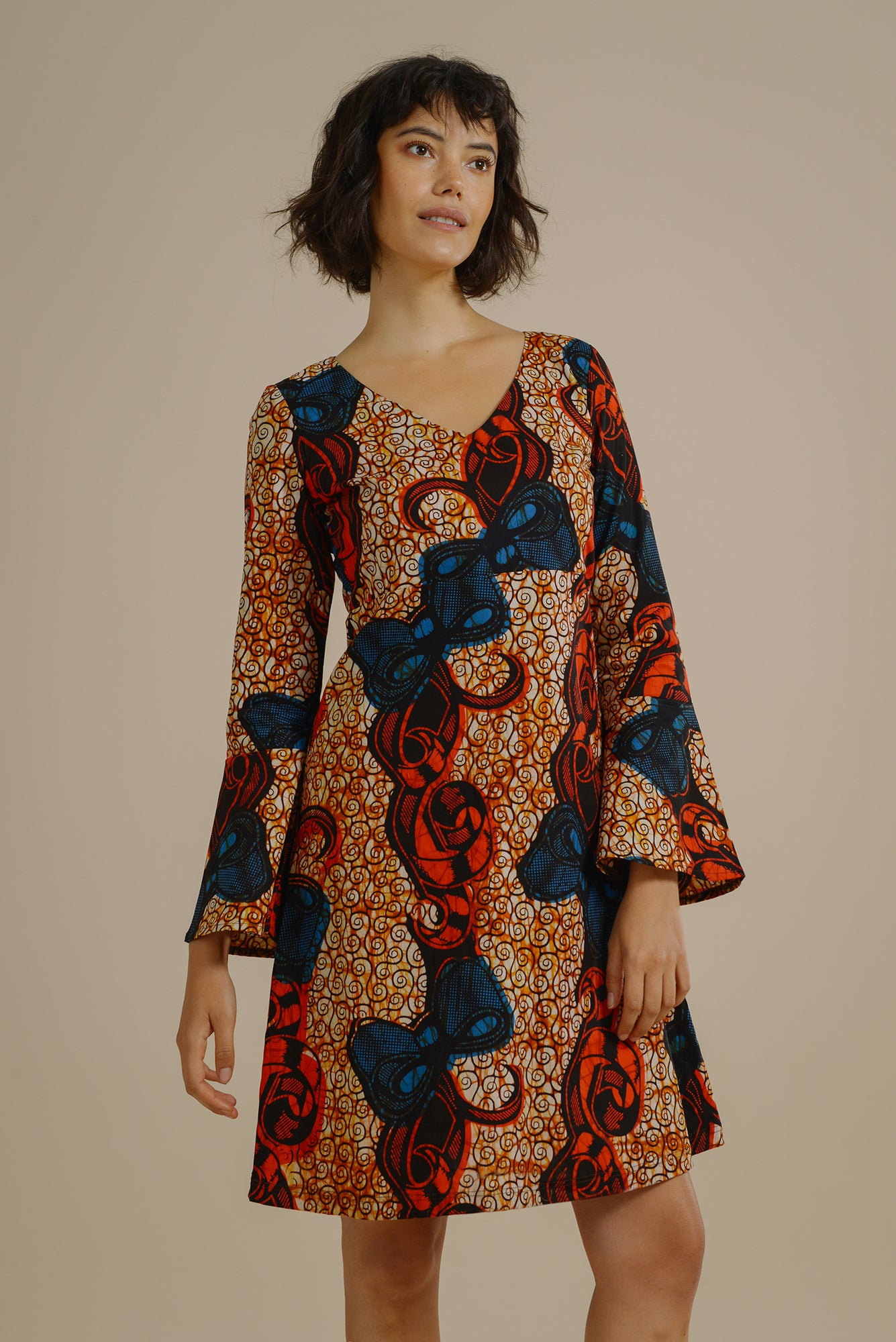 cea2f32c19 Giulia Flared Sleeve dress in Red and Blue Bow - Mayamiko Sustainable  Fashion ...
