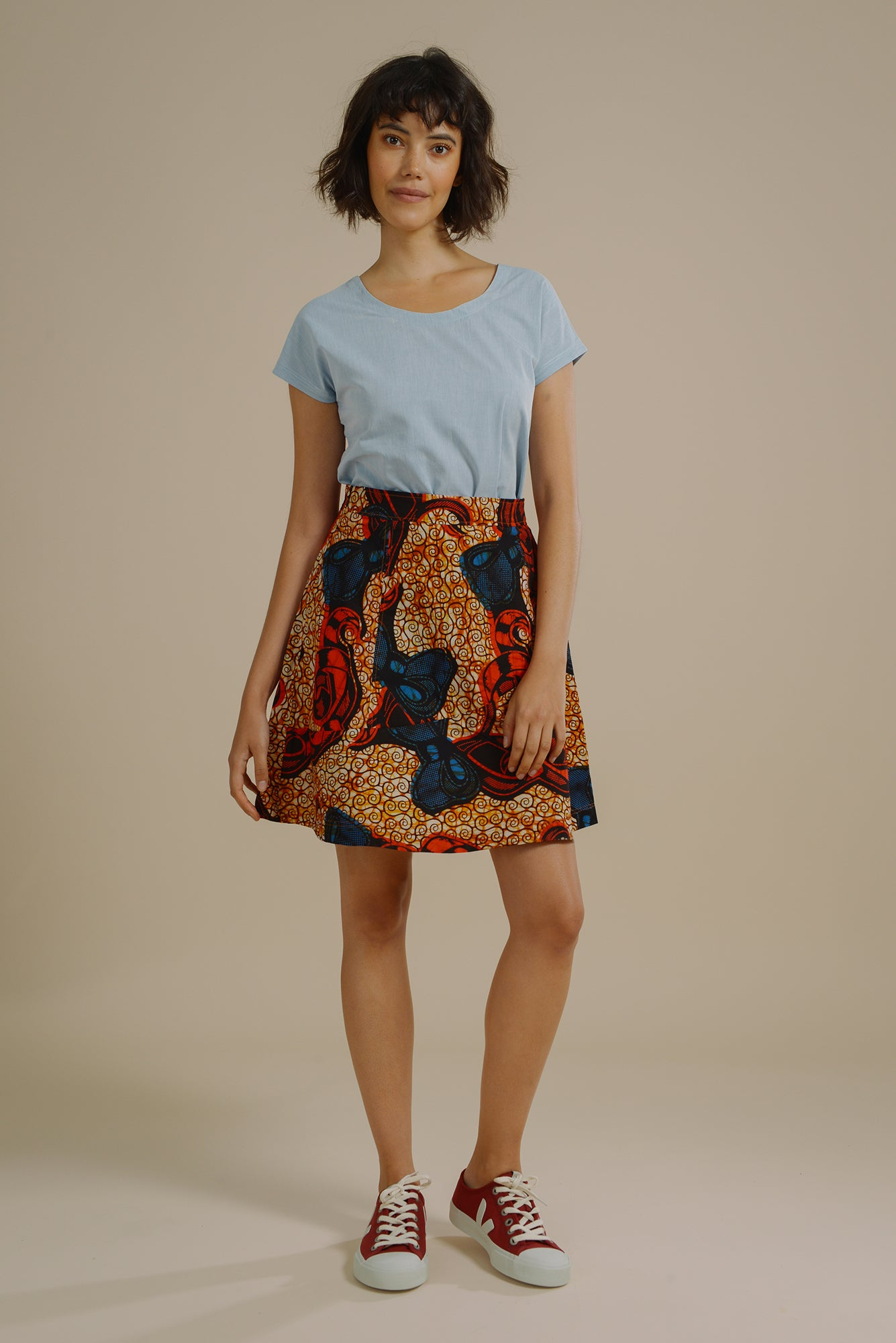 9d0df75bf6 Polly Flare Panelled Skirt in Red and Blue Bow - Mayamiko Sustainable  Fashion ...