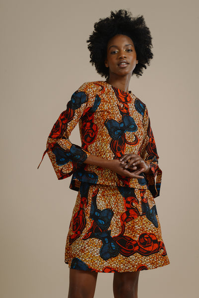 10a351ddd792c8 Likoma long bell sleeve top with V back in red and blue bow - Mayamiko  Sustainable