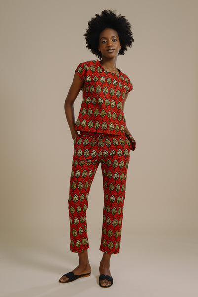 3066d808ab81 Kiana relaxed drawstring trousers in red and gold fish print - Mayamiko  Sustainable Fashion