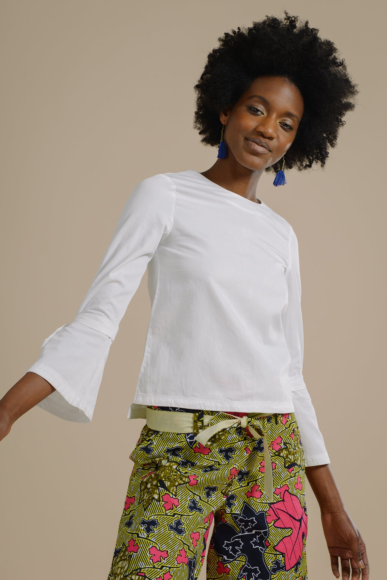 46f49081f70ce8 Likoma long bell sleeve top with V back in White Organic Cotton - Mayamiko  Sustainable Fashion ...