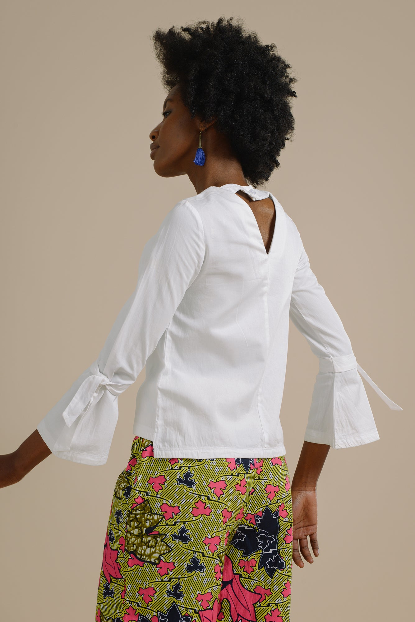 cc1db187d281f4 ... Likoma long bell sleeve top with V back in White Organic Cotton - Mayamiko  Sustainable Fashion