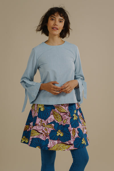 aecb8a7796417c Likoma long bell sleeve top with V back in Sky Blue Organic Cotton -  Mayamiko Sustainable