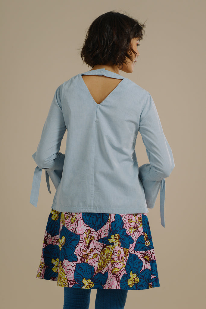 b806de0a21721f ... Likoma long bell sleeve top with V back in Sky Blue Organic Cotton - Mayamiko  Sustainable