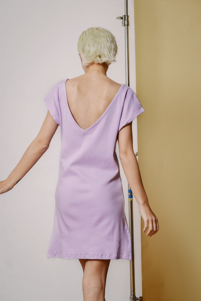e83d0a2f2563d6 ... Reclaimed Jersey V Back Tunic in Lilac - Mayamiko Sustainable Fashion