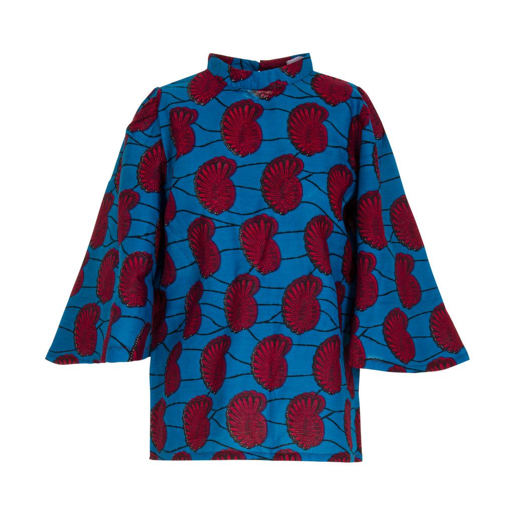 e30526fc446bc4 ... Florence Bell Sleeve Top in Blue Seashells - Mayamiko Sustainable  Fashion