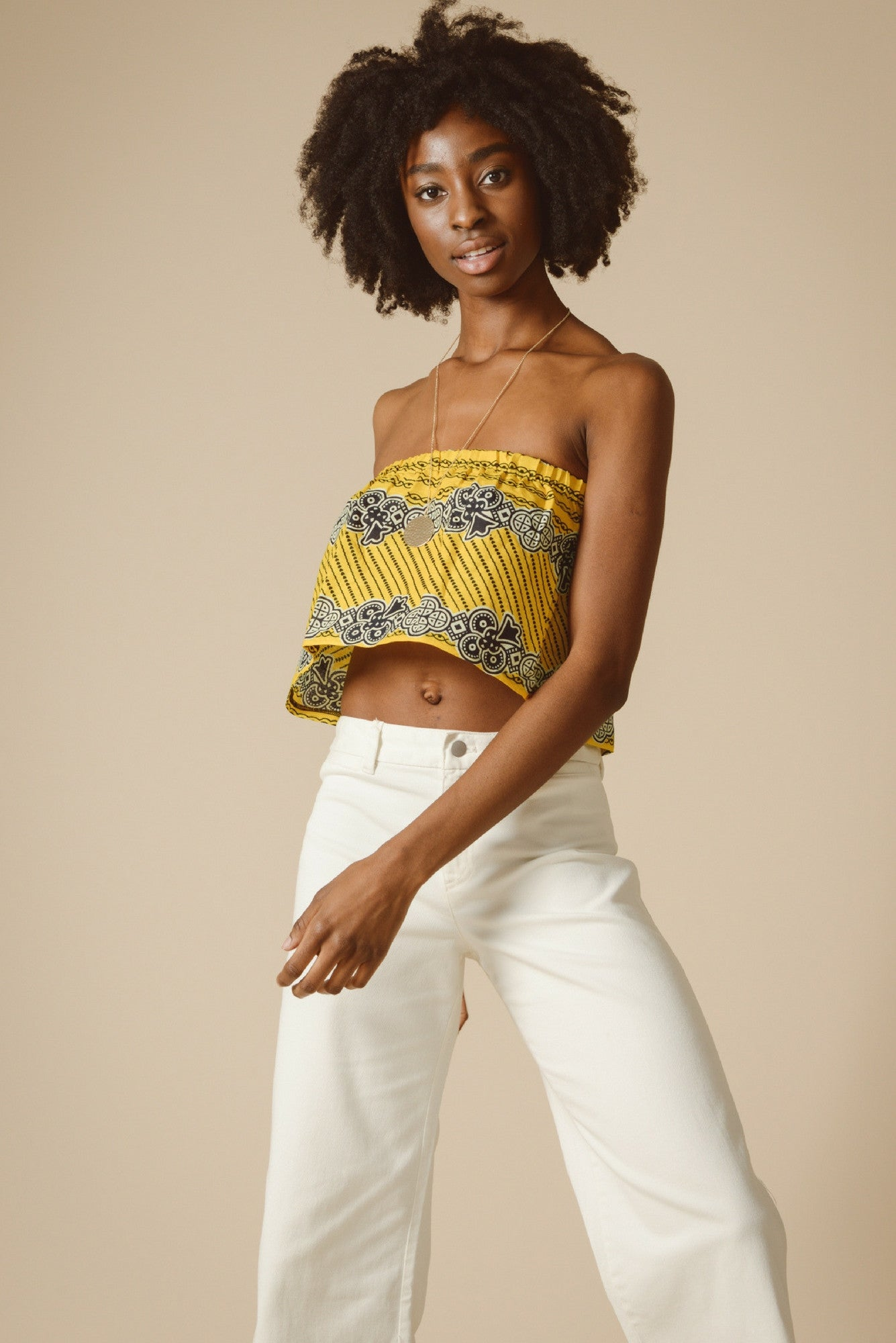 Alinafe Strapless Crop Top in Savannah Flower from Mayamiko