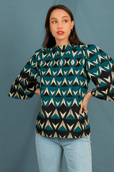 433cb00de711f9 Florence Bell Sleeve Top in Teal Triangles - Mayamiko Sustainable Fashion
