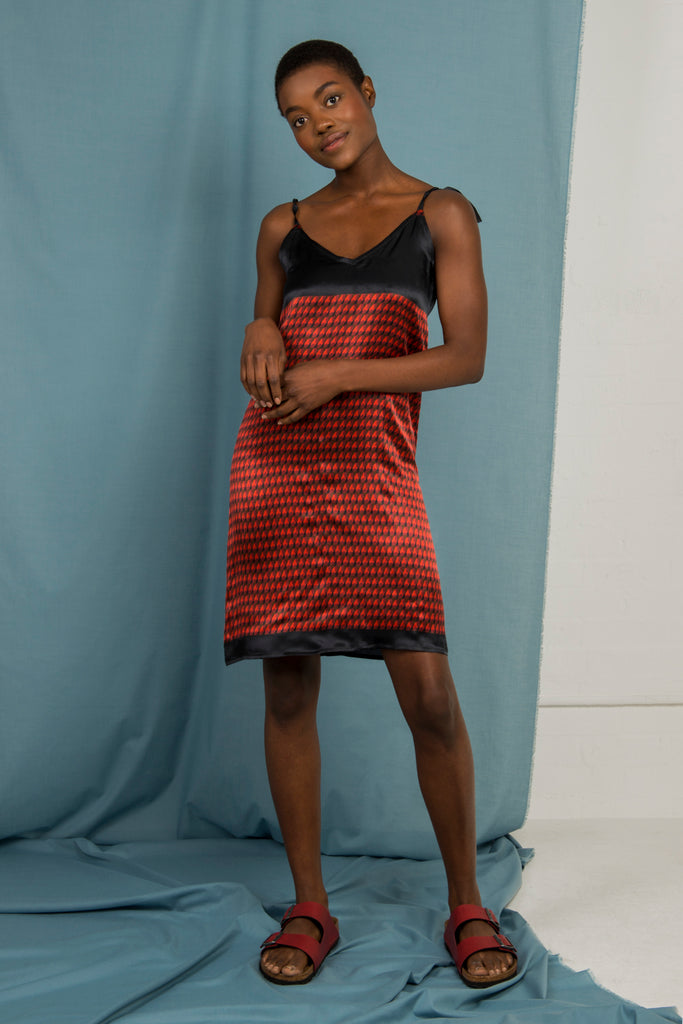207218ed82063 ... Anna Slip Dress in Red and Black colour block - Mayamiko Sustainable  Fashion ...
