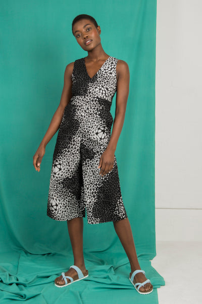 0dcaac82a4 Martina Jumpsuit in Black and White Abstract Print