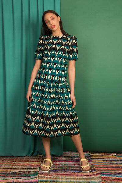 931e89f5f3 Halima Drop Waist Maxi Dress in Teal Triangles - Mayamiko Sustainable  Fashion