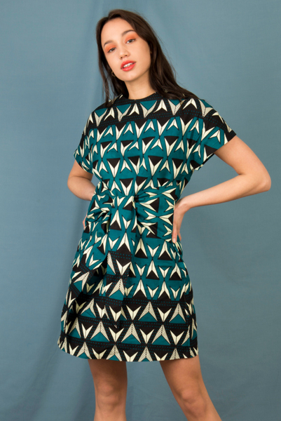 2034f4ac7696 Paola Wrap Front Mini Dress in Teal Triangles - Mayamiko Sustainable Fashion