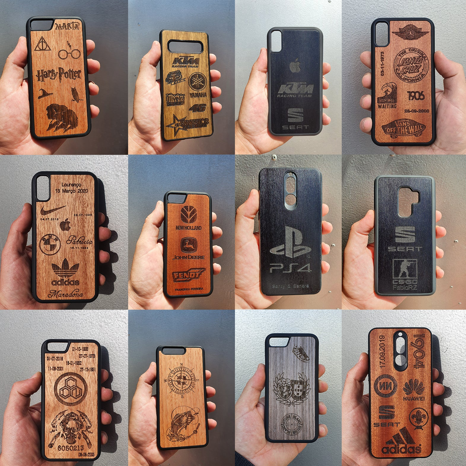 custom wood case with multiple logos