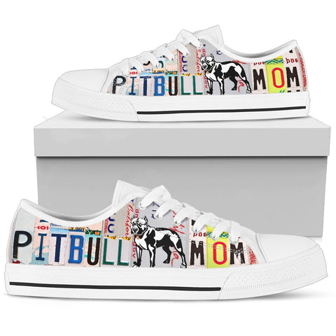 Pit Bull Mom Print Low Top Canvas Shoes for Women