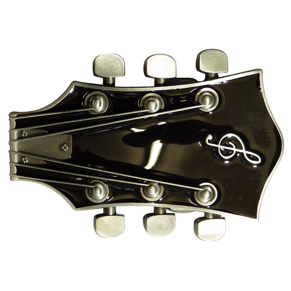 Guitar Head Belt Buckle in Black - BBT Clothing - 1