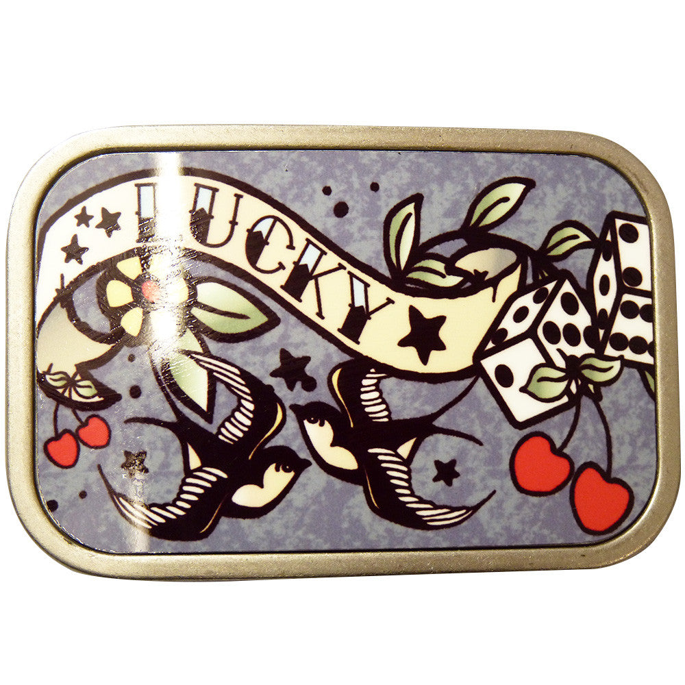 Lucky Tattoo Belt Buckle in Grey - BBT Clothing - 1