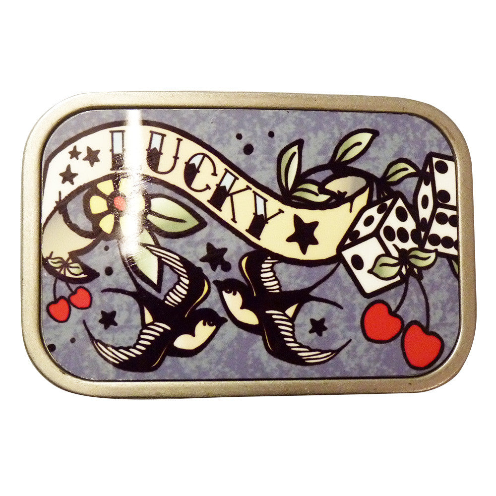 Lucky Tattoo Belt Buckle in Grey - BBT Clothing - 2
