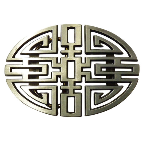 Chinese Knot Belt Buckle - Metal Finish
