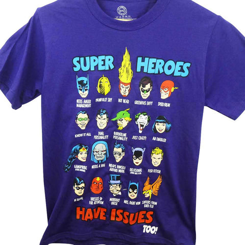 DC Comics T-Shirt - Superheroes Have Issues Too!