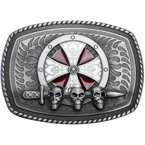 Shield Belt Buckle - Triple Skulls