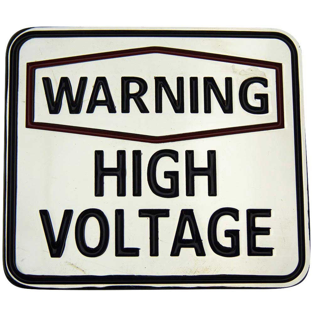 Warning High Voltage Belt Buckle - BBT Clothing - 1