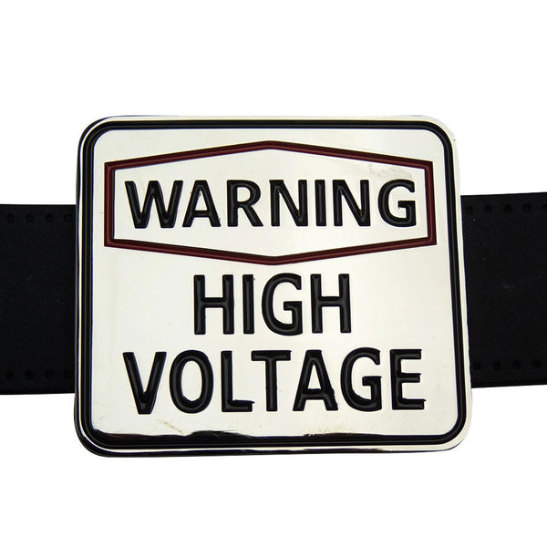 Warning High Voltage Belt Buckle - BBT Clothing - 3