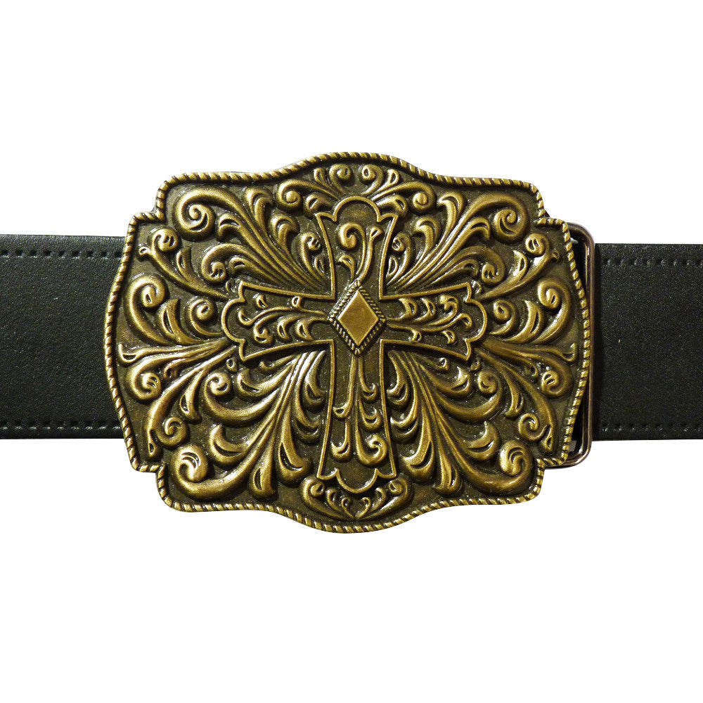 Cross Belt Buckle - Antique Finish - BBT Clothing - 3